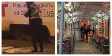 Сіли не в свій трамвай: неадеквати накинулися з кулаками на жінку-водія, кадри