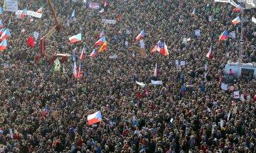Прага, демонстрация, протест