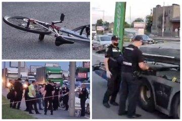 Пішохід штовхнув велосипедиста під колеса вантажівки: кадри трагічної ДТП у Києві