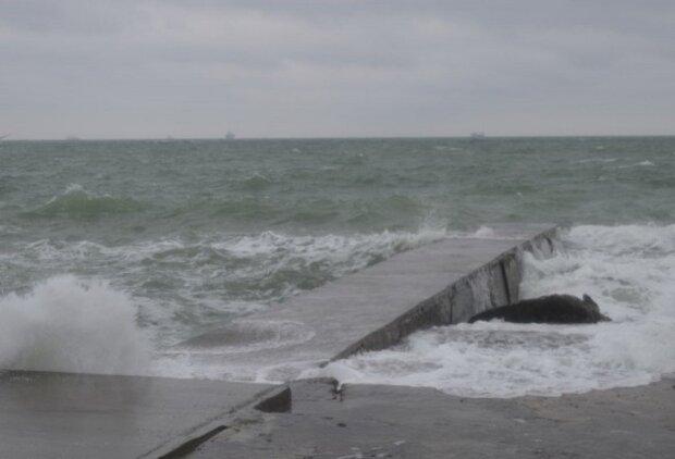 шторм, море, пляж, Одесса
