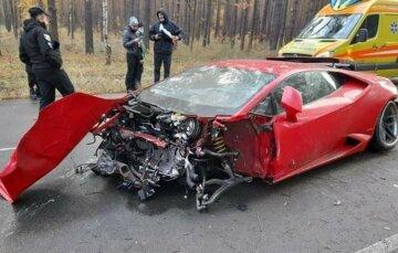 ЧП под Киевом: водитель на Lamborghini не справился с управлением на скорости 200 км/час, кадры ДТП