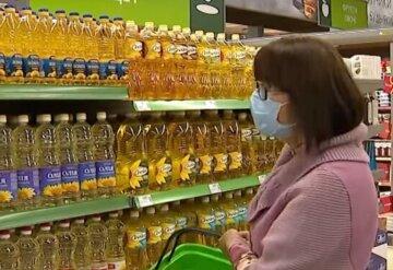 магазин, супермаркет, продукты, подсолнечное масло