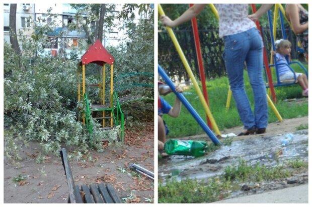 """В Одессе на детскую площадку рухнуло дерево, фото: """"играла ребятня"""""""