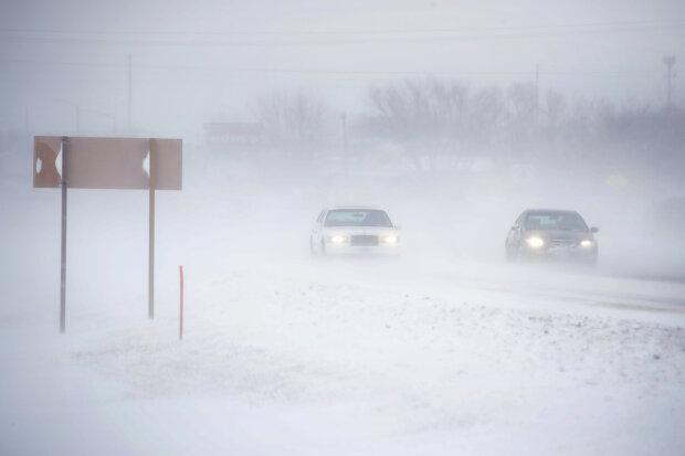 Зима, снег, буря, погода