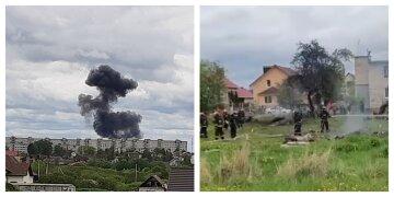 Літак впав поруч з житловими будинками, чорний дим видно здалеку: перші кадри авіакатастрофи в Білорусі
