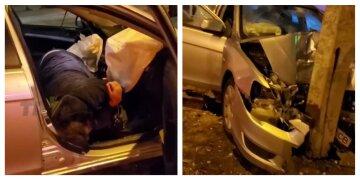 """Водій-неадекват ледь не протаранив натовп у Харкові, моторошне відео: """"Стовп врятував людей на тротуарі"""""""