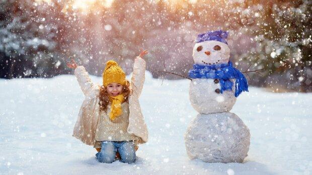 погода в декабре, зима, снег, ребенок, прогулка