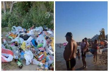 """Отдыхающие превратили одесский пляж в помойку, видео: """"приносят еду, а уносить мусор не хотят"""""""