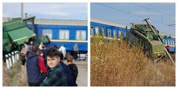 """ЧП с поездом """"Укрзализныци"""": многотонная машина протаранила вагон, кадры с места"""