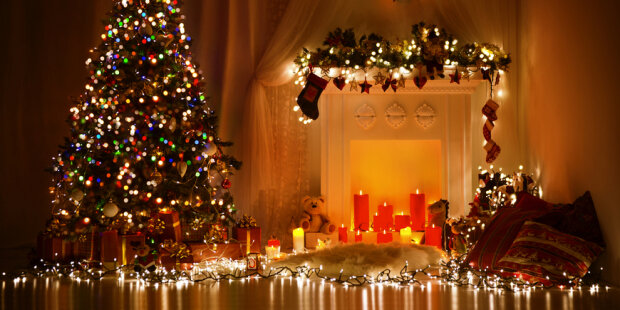 Christmas Room Interior Design, Xmas Tree Decorated By Lights Pr