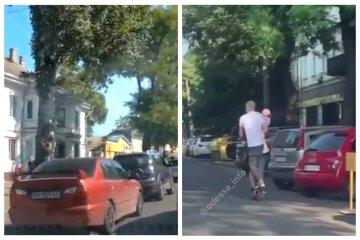 З немовлям на руках: в Одесі чоловік прокотив на самокаті всю сім'ю, відео безумства