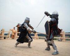рыцари, бой, реконструкция