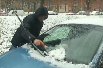 снег, зима, машина