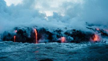 вулкан, море