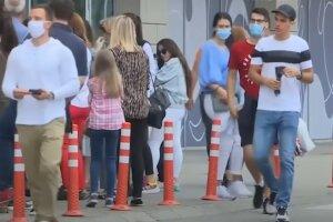 карантин, маски, люди, очередь