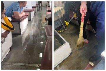 """Відео НП в одеському поїзді, водою затопило весь вагон: """"Сморід нестерпний"""""""