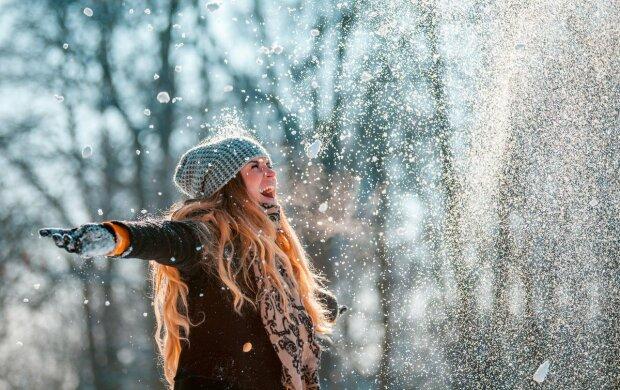 девушка, зима, счастье