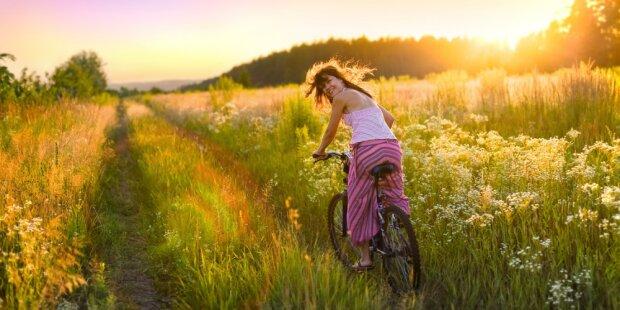 лето, жара, девушка, поле