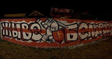 """В Днепре граффити в поддержку белорусов не прожило и нескольких дней, кадры: """"Наш забор - хотим, чтобы..."""""""