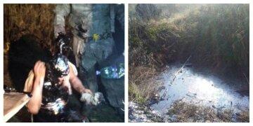 Провів там дві години: на Харківщині чоловік провалився в яму зі смолою, моторошні деталі і фото