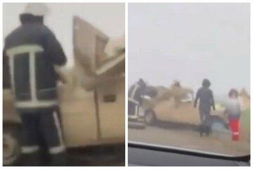 Три машини зіткнулися на київській трасі, паливо вилилося на дорогу: деталі і кадри масштабної аварії