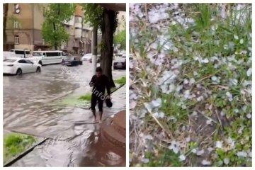 В Одесі потужна злива затопила вулиці, випав навіть град: відео стихії