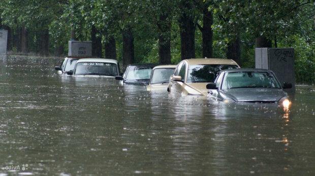потоп, авто, затопило, вода, прорыв, канализация