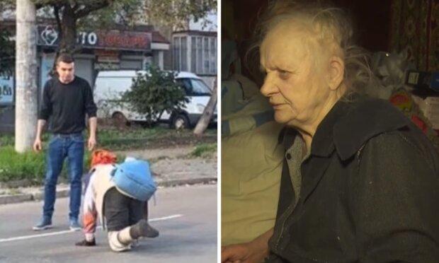 """""""Не сразу понял, что это человек"""": безногая старушка вынуждена переползать дорогу, чтобы купить хлеба, видео"""