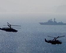 Военные, вертолеты, корабль, море