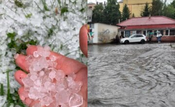 Ураган превратил улицы в реки и засыпал градом размером с яйцо: кадры лютой стихии в Украине