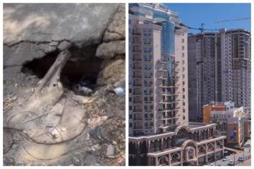 Асфальт пішов під землю на парковці в елітній частині Одеси: відео від очевидців