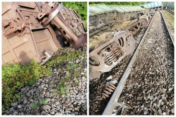 Под Львовом перевернулся поезд, с колеи сошло 18 вагонов: первые кадры с места аварии