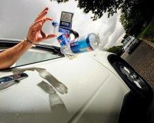 мусор, машина, бутылки, дорога
