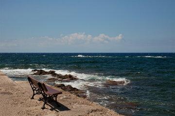 лавочка, пляж, море