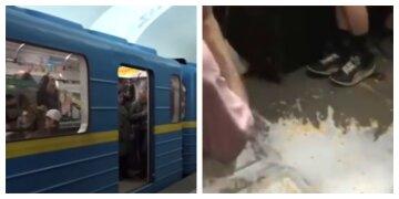"""Киевское метро залили молоком, необычное видео: """"решили пошутить"""""""