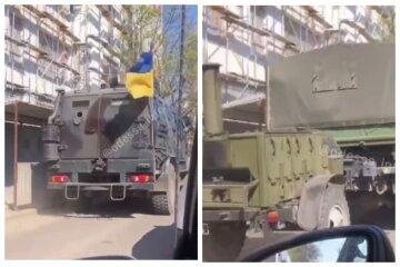 Колона військової техніки в'їхала в Одесу: відео того, що відбувається