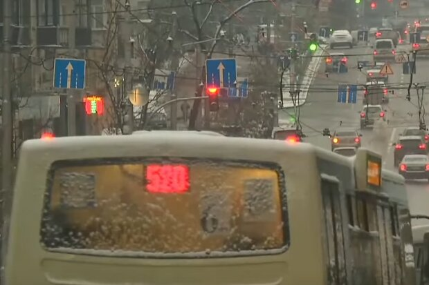 снег, зима, машины, автобус, дорога