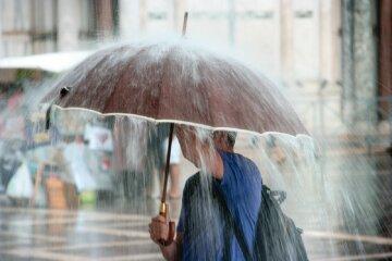 погода, дождь, ливень, осадки, зонт, мужчина