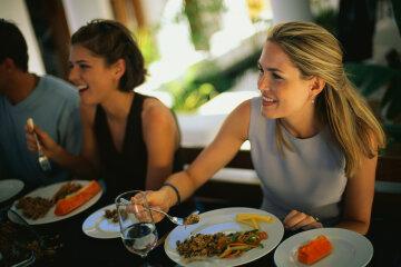 девушка женщина обед еда ресторан кафе диета питание