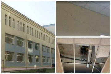 Грибок разъедает киевскую школу, в стенах образовались дыры и трещины: фото и видео