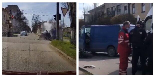 Жуткая авария на украинской трассе: автобус на скорости снес с пути мотоциклистов, видео