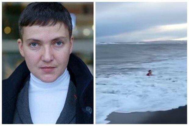 Савченко в красном платье накрыло штормовой волной, появилось видео