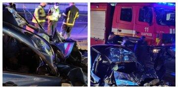 В Харькове авто на большой скорости влетело в бензовоз: фото с места трагедии