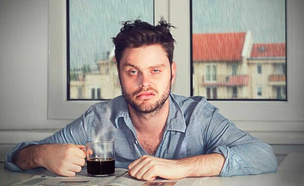 мужчина, кофе, похмелье