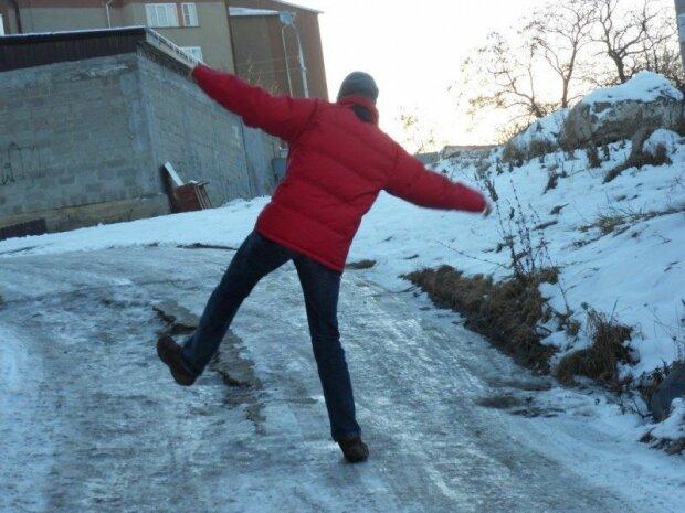 гололед, зима