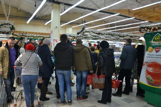 супермаркет, очередь, паника