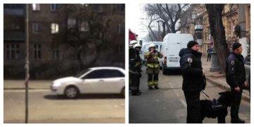 """В Киеве мужчина бросал бутылки из окна пятиэтажки, кадры: """"повредил 8 автомобилей и ..."""""""