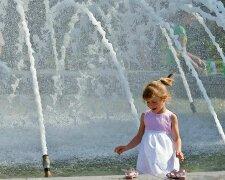 погода, лето, жара, фонтан, девочка