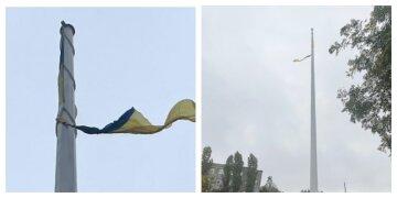 Самый большой флаг разорвал ветер, кадры: никто не снял знамя Украины в шторм