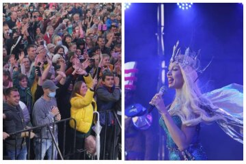"""Тысячи харьковчан наплевали на карантин ради концерта Поляковой, фото: """"Подарок Кернеса"""""""